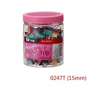 【芥菜籽文具】//SDI 手牌文具 //0247T筒裝彩色長尾夾15mm(#227)288支/筒