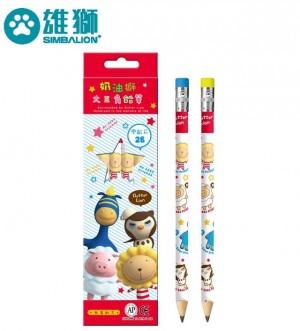 【芥菜籽文具】//雄獅// NO50/4 奶油獅學齡前鉛筆4支入加贈小筆削
