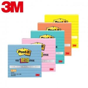 """【芥菜籽文具】3M POST-IT 狠黏可再貼利貼便條紙 #640S (五色) 3X3"""" 橫格"""