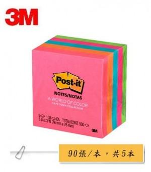 【芥菜籽文具】3M POST-IT 可再貼利貼便條紙五色組合包 #654-5PK