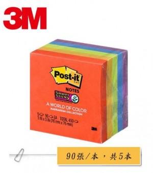 【芥菜籽文具】3M POST-IT 狠黏利貼便條紙五色組合包 #654-5SSAN
