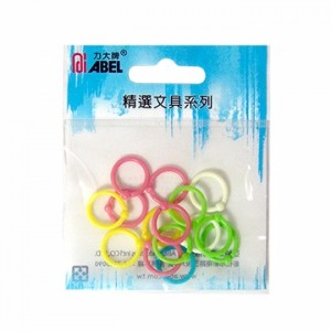 【芥菜籽文具】//ABEL力大牌// 袋裝塑膠彩色卡片圈 67840(12mm) 15支/袋