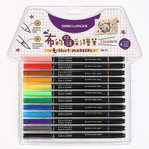 【芥菜籽文具】//雄獅 // 布的雙頭彩繪筆、布料彩繪筆12色(TM-12)