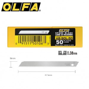 【芥菜籽文具】//OLFA//無折痕小型美工刀片AB-SOL-50(50片/筒)(日本包裝型號SB50K-OSN型)