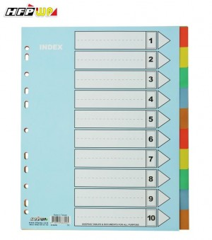 【芥菜籽文具】//HFP WP超聯捷// 11孔10段PP分段紙、隔頁紙 IX-902W(加寬)