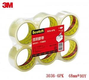 【芥菜籽文具】3M SCOTCH // 3036-6封箱膠帶(OPP)膠帶 48MM×90Y (6顆/片) 4710367263173